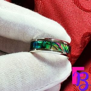 8mm Stainless Steel Abalone Ring